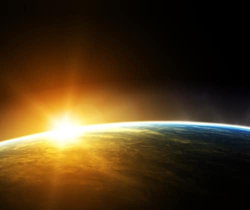 Sun rises over Earth